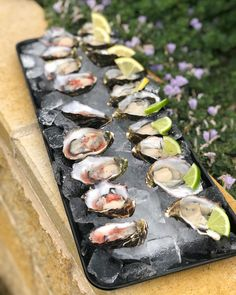 Tasmanian Pacific oysters with shallot vinegarette Oysters, Catering, Cheese, Wedding, Food, Valentines Day Weddings, Hochzeit, Essen, Weddings
