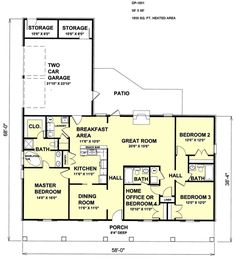Country Style House Plan - 4 Beds 3.00 Baths 1856 Sq/Ft Plan #44-115 Floor Plan - Main Floor Plan - Houseplans.com