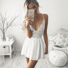 Prom Dress Beautiful, 2019 Sexy Spaghetti Straps Homecoming Dresses Chiffon & Lace Short/Mini, Discover your dream prom dress. Our collection features affordable prom dresses, chiffon prom gowns, sexy formal gowns and more. Find your 2020 prom dress Dresses Short, Sexy Dresses, Cute Dresses, Fashion Dresses, 90s Fashion, Style Fashion, Sleeveless Dresses, Sleeve Dresses, White Fashion