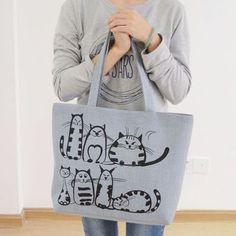 2018 Kreslené kočky Tištěná pláž Zipová taška Bolsa Feminina Plátno Tote  Shopping Kabelky bag a main 6e2679368b6