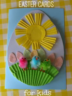 Thinking about sending some DIY Easter cards to your loved ones? Might want to take inspirations from these easy easter cards which you can make in no time. Easter Arts And Crafts, Easter Activities For Kids, Spring Crafts For Kids, Crafts For Girls, Preschool Crafts, Kids Crafts, Easy Crafts, Diy Easter Cards, Egg Card