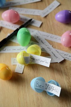 Random act of kindness for Easter. Put handwritten notes in miniature Easter eggs and leave them for strangers to find.