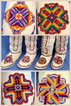 Ladies beaded Southern Style Leggings embroidered in cut glass seed beads. Indian Beadwork, Native Beadwork, Native American Beadwork, Native Beading Patterns, Beadwork Designs, Loom Patterns, Native American Clothing, Native American Crafts, Powwow Regalia