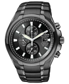 Citizen Watch, Men's Chronograph Eco-Drive Black Titanium Carbide Ion-Plated Bracelet 42mm CA0265-59E - Men's Watches - Jewelry & Watches - ...