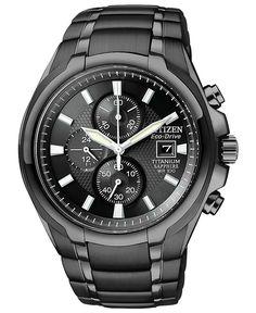 Citizen Watch, Men's Chronograph Eco-Drive Black Titanium Carbide Ion-Plated Bracelet 42mm CA0265-59E - Men's Watches - Jewelry & Watches - ...