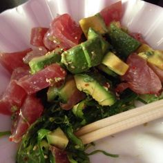 Tuna, avocado on a seaweed salad bed. Billings MT 4/5/16.