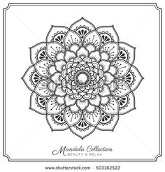 mandala decorative ornament design for coloring page, greeting card, invitation, tattoo, yoga and spa symbol. Vector illustration