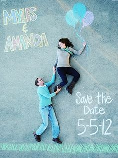 Themed sidewalk save the date