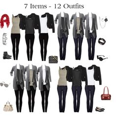 """""""7 Items - 12 Outfits"""" by issacat on Polyvore"""