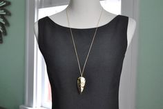 Large Gold Arrowhead Charm Necklace