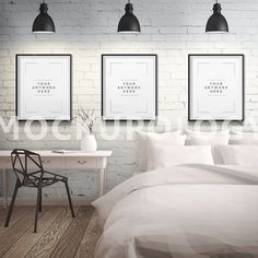 Three 8x10 DIGITAL Vertical Black Frames Mockup by Mockupology