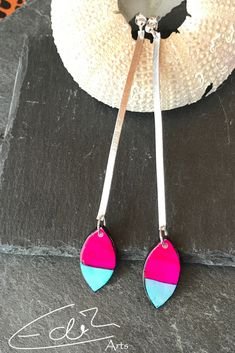 Long handmade Polymerclay Earrings Statement Jewelry, Pink, Artisan, Etsy Seller, Pendant Necklace, Unique, Creative, Earrings, Handmade
