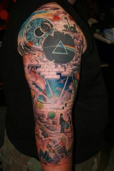Pink Floyd Tattoo Full Sleeve with Color