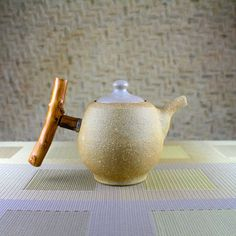 Pumice Clay Barrel Teapot with Wood Handle