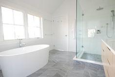 Master Bath color scheme - notice floor tiles and Shower tiles (which are 6x12)    Master Bathroom - contemporary - Bathroom - New York - Jeff Chmielewski
