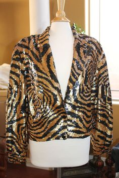 THE ICING Sz L 10/12 Sequin Jacket TOP ANIMAL LEOPARD PRINT GOLD BLACK BOMBER | Clothing, Shoes & Accessories, Women's Clothing, Coats & Jackets | eBay!