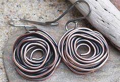 Copper Wire Birds Nest Earrings Copper Wire Jewelry by gcuff, $18.00