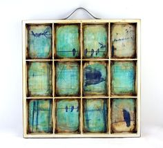 Printers box (can find them at Archivers) not a window pane- for fam photos/ artworks