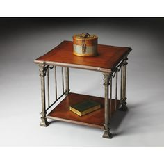 Metalworks Cherry Veneer Top End Table