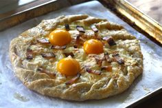 Breakfast Galette with ricotta,mozzarella,bacon,basil and egg yolks