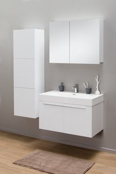 thebalux stone serie met opzet waskom en meubel in hoogglans wit, Badkamer