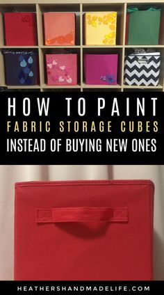 How to paint fabric storage cubes {Heather's Handmade Life} Cardboard Storage, Fabric Storage Boxes, Fabric Boxes, Craft Storage, Spray Paint Storage, Fabric Spray Paint, Fabric Painting, Ikea Storage Cubes, Storage Bins
