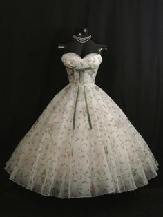 Vintage 1950's Strapless Lorrie Deb White and Pink Floral Print Chiffon Organza Party/Prom Dress