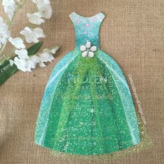 Frozen Fever inspired invitation -  die-cut dress with tulle skirt by DetailsBeyondDesign