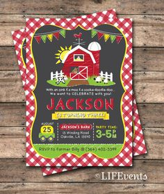 Farm Invitations Old McDonald Invitations Farm Birthday Invitation Country Birthday Party Chalkboard Digital File by LIFEvents Country Birthday Party, Farm Birthday, 4th Birthday Parties, Birthday Ideas, Birthday Decorations, Tractor Birthday, 70th Birthday, Farm Themed Party, Barnyard Party