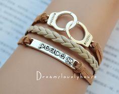 Christmas gift, Peace bracelet, Handcuffs bracelet, Peace or Handcuffs,Silver Jewelry,Gray Braided leather, Charm Bracelet,best gift on Wanelo