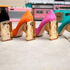 Cleo B Casette heels. High Heels, Shoes Heels, Pumps, Hip Hop Shoes, Colorful Shoes, Fendi Bags, Shoe Clips, Unique Shoes, Glam Rock