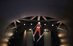 Mackenzie Boyd-Clowes of Canada competes in the men's normal hill individual qualification at the Alpensia Ski Jumping Center on February 8, 2018.