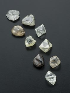 These nine rough diamonds from the Kao mine, 75.37 carats total, were among those auctioned at Fusion Alternatives' November 2014 sale in Antwerp. Photo by Robert Weldon/GIA. GIA (020615)