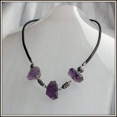 OOAK Natural Raw Amethyst gemstones Blackened by LucilleParenteau