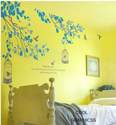 Two Branches with birds cage - vinyl wall decals trees wall sticker, children bedroom wall decor,home decor wall hanging. $56.00, via Etsy.