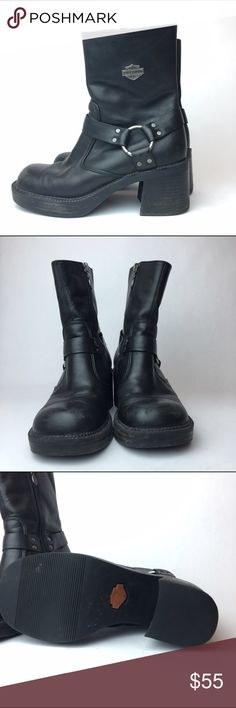 Harley Davidson black Moto leather boot 6 Good condition with light signs of wear such as scuffs at the toe Harley-Davidson Shoes Combat & Moto Boots