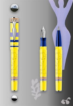 Pineider Limited Numbered edition MATISSE fountain pen and rollerball pen.