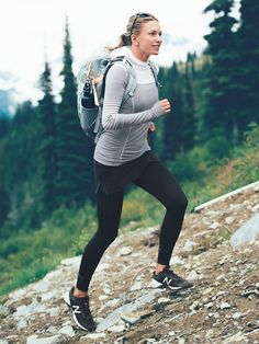 gray fitted sweatshirt + black leggings with breathable coolmax® crotch gusset l best workout outfits for cold weather Workout Attire, Workout Outfits, Camping Attire, Cute Running Outfit, Runners Outfit, Running In Cold Weather, Workout Clothes Cheap, Athleisure Outfits, Outdoor Outfit