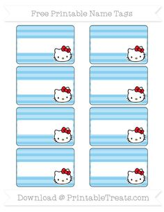 Free Baby Blue Horizontal Striped  Hello Kitty Name Tags