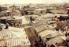 Carol Popp de Szathmary - Coltei (Colta) lane (Bratianu boulevard nowadays) in 1864 Bucharest Romania, Timeline Photos, Close Image, Bulgaria, Time Travel, Paris Skyline, Bali, The Past, Street View