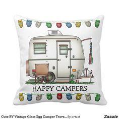 Cute RV Vintage Glass Egg Camper Travel Trailer