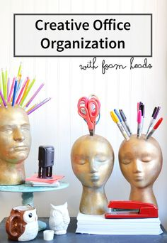 Office organization ideas using foam heads. Includes DIY tutorial to make your own!