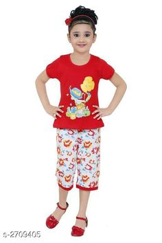 Clothing Sets Stylish Kid's Girl's Clothing Set Fabric: Cotton Hosiery   Sleeves: Sleeves Are Included Size: Age Group (3 - 4 Years) - 22 in Age Group (4 - 5 Years) - 24 in Age Group (5 - 6 Years) - 26 in Age Group (6 - 7 Years) - 28 in Age Group (7 - 8 Years) - 30 in Age Group (8 - 9 Years) - 30 in Type: Stitched Description: It Has 1 Piece Of Kid's Girl's T-Shirt & 1 Piece Of Girl's Bottom Work: Printed Country of Origin: India Sizes Available: 2-3 Years, 3-4 Years, 4-5 Years, 5-6 Years, 6-7 Years, 7-8 Years, 8-9 Years, 9-10 Years   Catalog Rating: ★4.3 (6775)  Catalog Name: Cutepie Stylish Kid's Girl's Clothing Sets Vol 1 CatalogID_367028 C62-SC1147 Code: 672-2709405-936