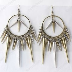1 Pair Vintage Hoop Rivets Spike Dangle Hook Earring Bronze Fashion Korean Gift