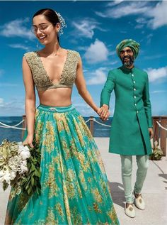Miss World Manushi Chhillar in a sea green Sabyasachi beach wedding lehenga. Click on picture to see the full collection. #Frugal2Fab