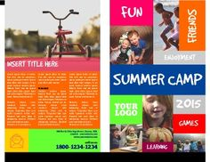 Free summer camp flyer template kathy pinterest for Sports camp brochure template