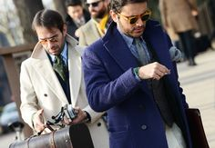 PITTY UOMO | JANUARY 2014 | The streets of Florence are full of blue, brown and pattern. | The italian mood is very interesting with bold large ties, big coats, lapels high...