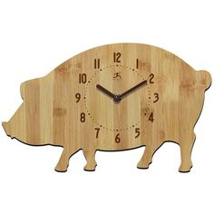 For the bacon lover and chef, this pig kitchen wall clock is made from 100 percent bamboo. Style # at Lamps Plus. Kitchen Wall Clocks, Home Decor Kitchen, Kitchen Ideas, Pig Kitchen, Country Kitchen, Cute Clock, Dot And Bo, Indoor Outdoor Rugs, Dorm Decorations