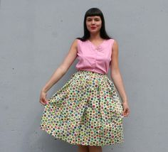 colorful circles + huge pockets! 50s cotton skirt