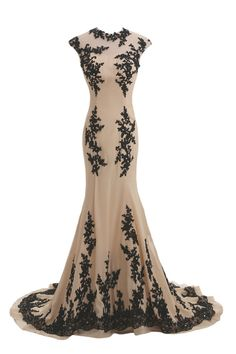Tidetell.com Exquisite Jewel Mermaid Sweep Train Chiffon Lace Champagne Evening Dress